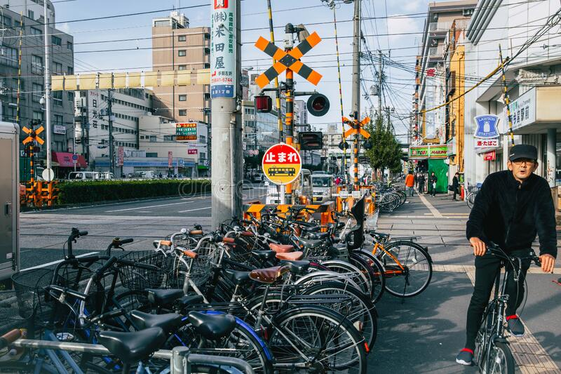 Crowded bicycle at Bicycle parking in Japan due to outbreak of the virus CoronavirusCovid-19 causes people to become more popula royalty free stock images