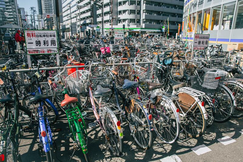 Crowded bicycle at Bicycle parking in Japan due to outbreak of the virus CoronavirusCovid-19 causes people to become more popula royalty free stock photography