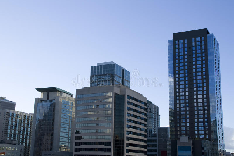 Business buildings offices. Crowded business buildings in downtown Seattle royalty free stock image