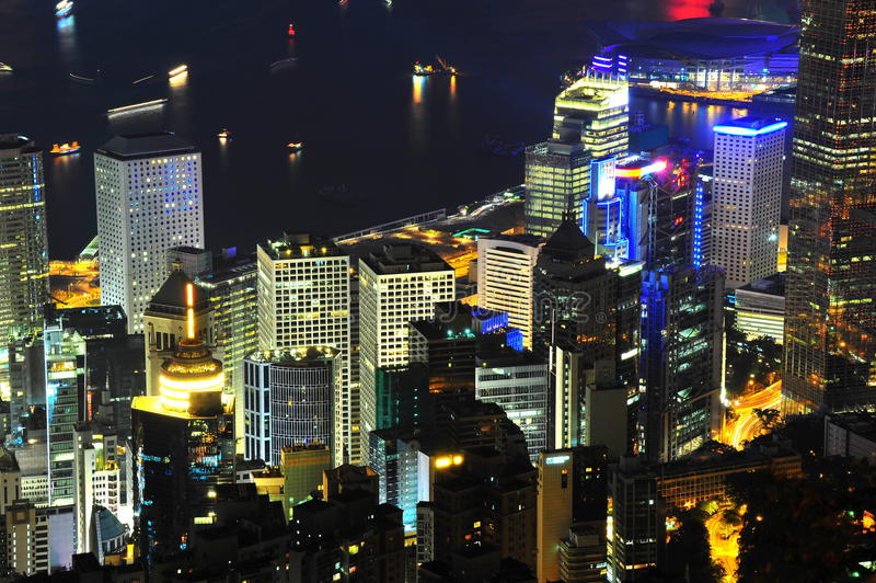 Crowded city at Hong Kong. Night scene of very crowded city at Central, Hong Kong stock images