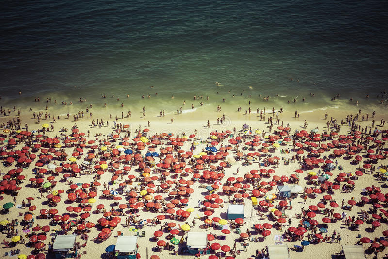 Crowded Copacabana beach in Rio de Janeiro stock photography