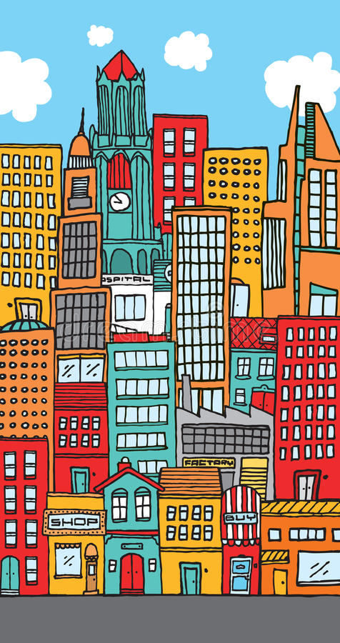 Crowded downtown city cartoon royalty free illustration