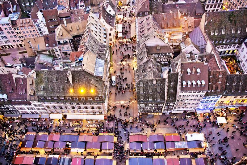 Traditional Alsacian Chirstmas Market at Strasbourg royalty free stock images