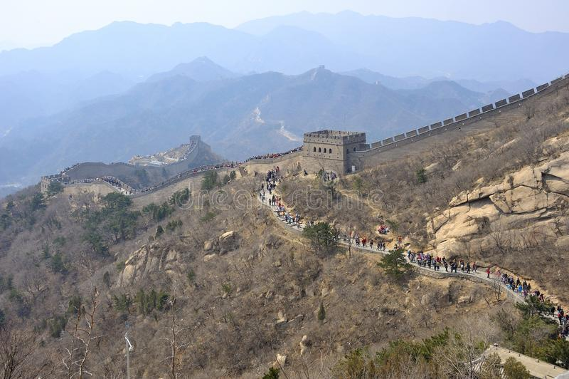 Crowded Great Wall. Long and crowded Great Wall, China royalty free stock image