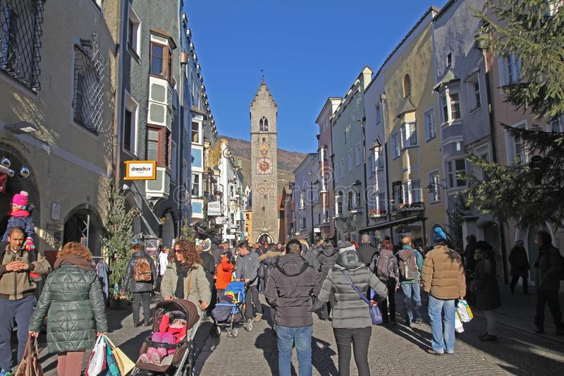 Sterzing street. The crowded main street of sterzing town in italy stock photo