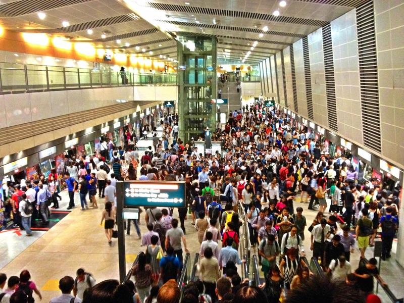 Crowded MRT station stock photography