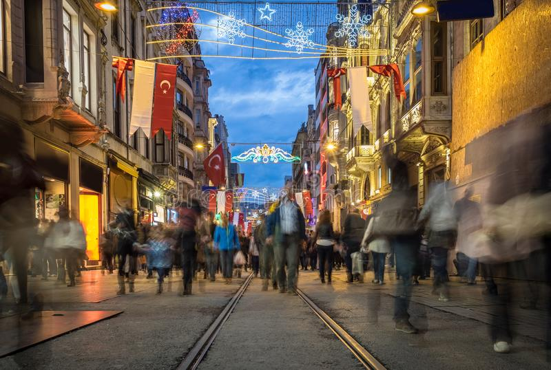 Crowded people Istiklal Street. In istanbul, turkey in October 19, 2014 royalty free stock photography
