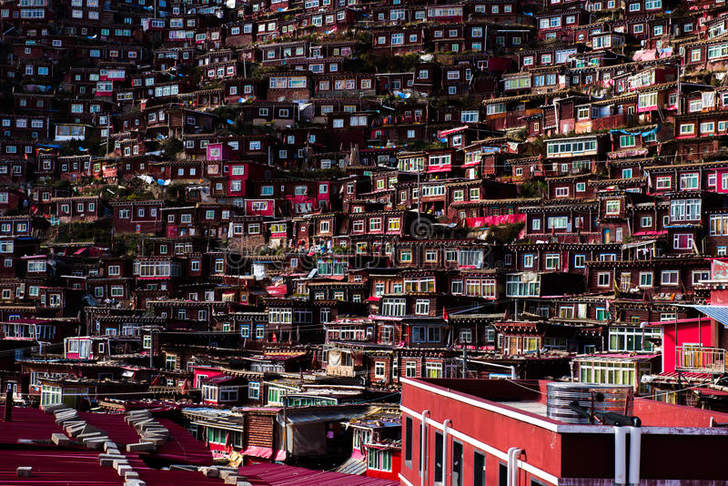 Download Crowded Red House Of Buddhist Academy Stock Photo - Image of china, architecture: 85969804