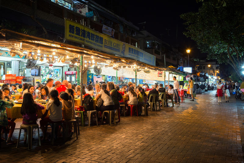 Crowded restaurant at the Cheung Chau Island stock image