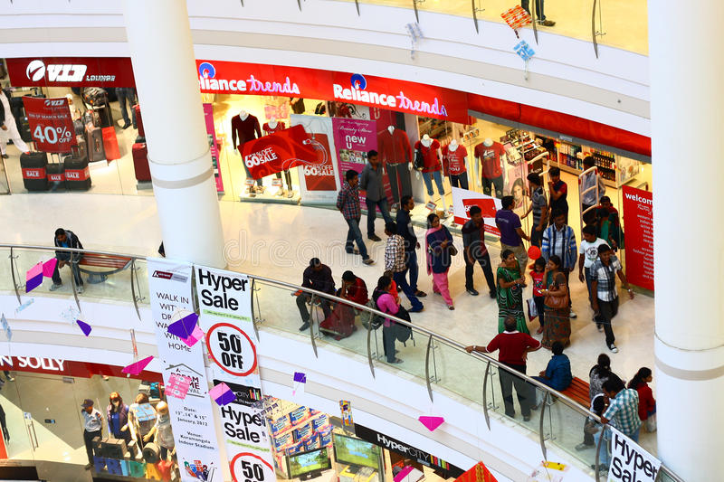 Crowded Royal Meenakshi Mall Bangalore India. Crowd at Royal Meenakshi Mall in Bangalore, India with pongal decorations stock photo