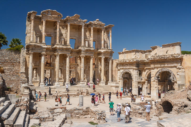 Crowded ruins of the ancient city of Ephesus royalty free stock images