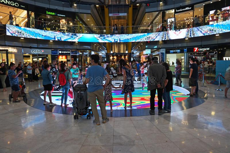 Crowded Shopping Mall in Barcelona stock images