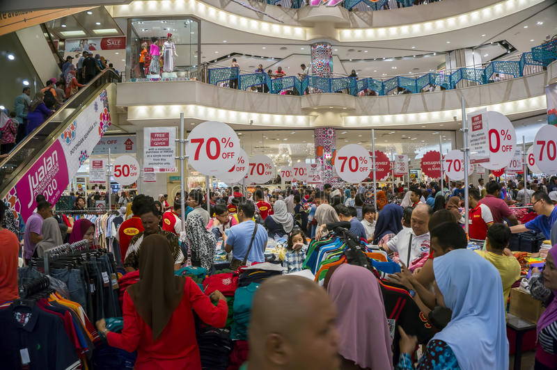 Crowded in shopping mall stock photo