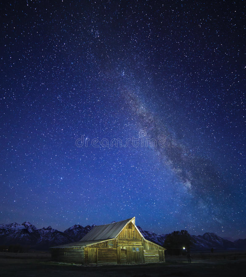 Milky Way, Grand Teton. Crowded sky Milky way moving in the night sky over the Old Mormon Barn in the Tetons
