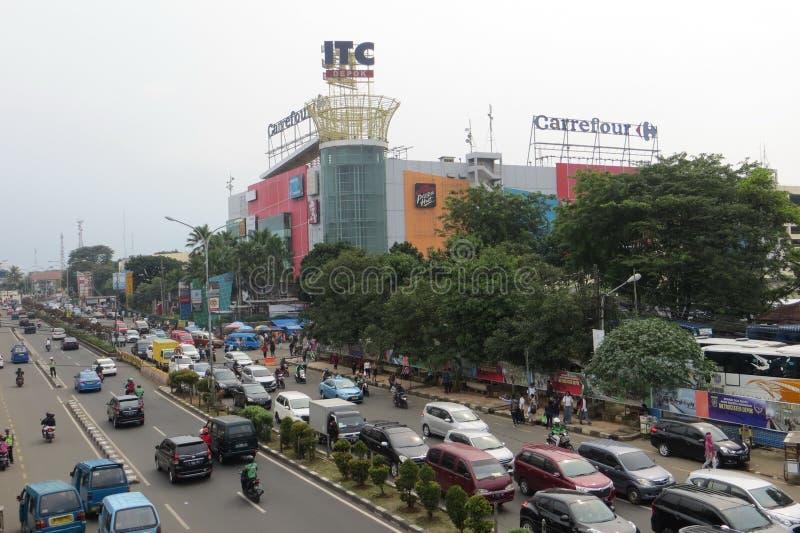 Crowded street in Depok. DEPOK, INDONESIA - March 10, 2017: Congested traffic on Jalan Margonda royalty free stock photo