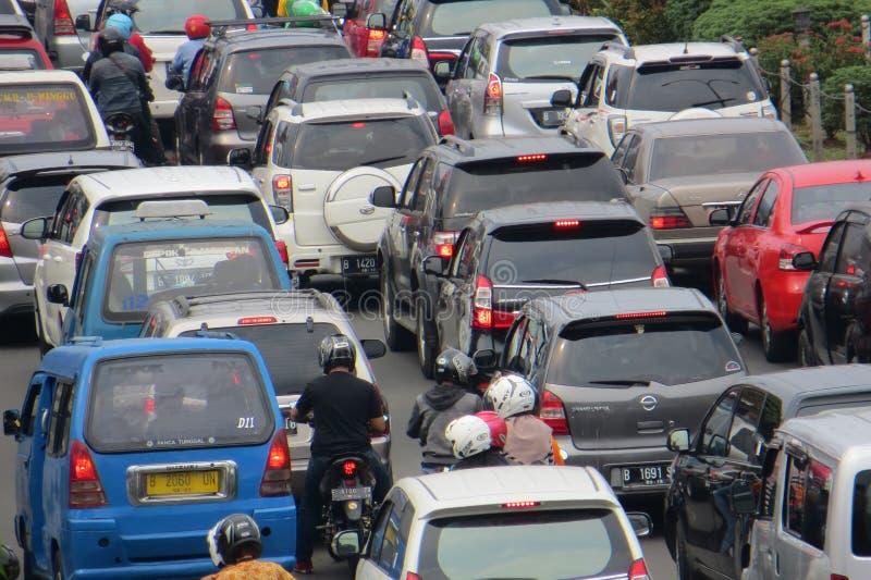 Crowded street in Depok. DEPOK, INDONESIA - March 10, 2017: Congested traffic on Jalan Margonda royalty free stock image
