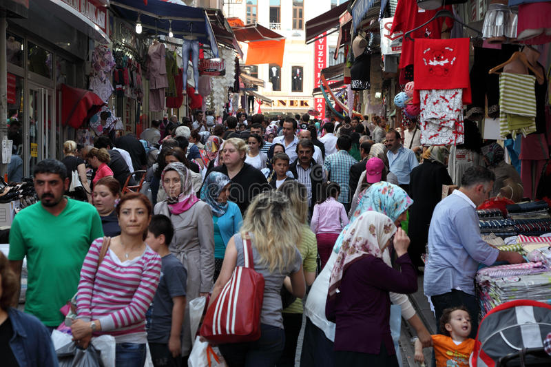 Crowded street in Istanbul. Crowded street in the city of Istanbul, Turkey. Photo taken at 21st of Mai 2011 stock photos