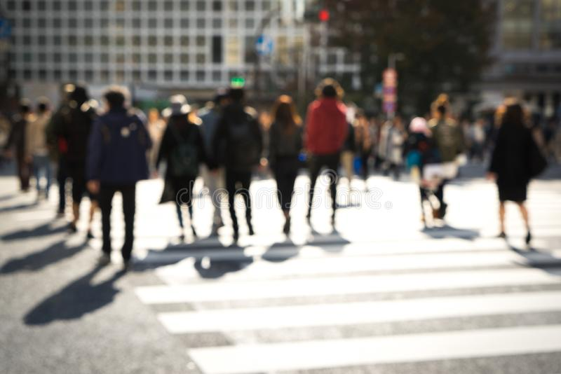 Crowded street in Japan, blurred background. Crowded street at shibuya in Japan, blurred background royalty free stock image