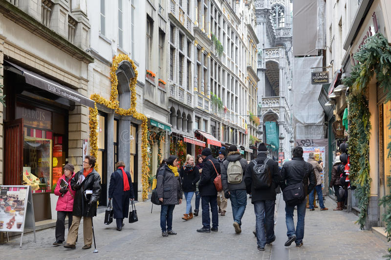 Crowded street Rue Au Beurre in center Brussels stock photos
