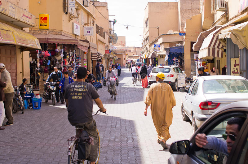 Crowded street of Taroudant , Morocco. Taroudant , Morocco - March 22, 2016: Crowded street. One of main streets during the rush hours royalty free stock photos