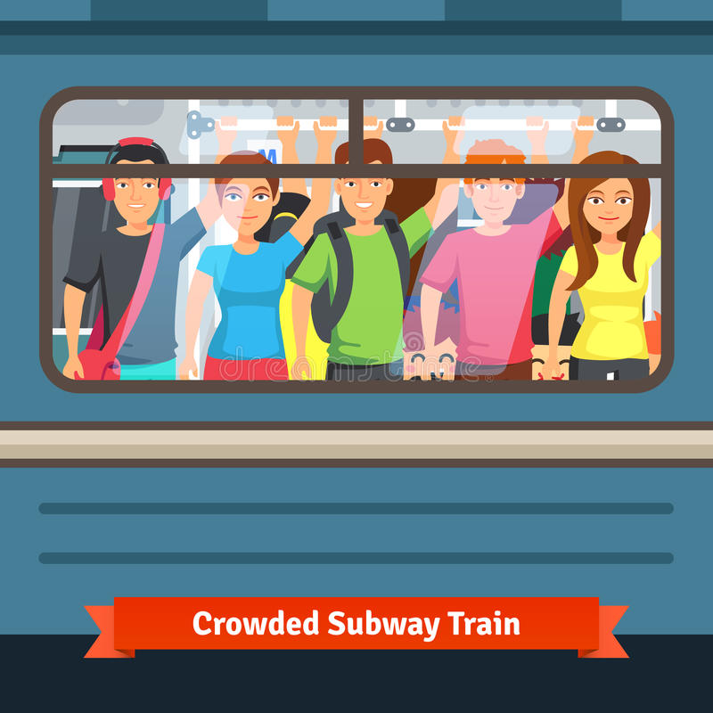 Crowded subway train. Young people standing close and holding to a hand rail. Flat style vector illustration vector illustration