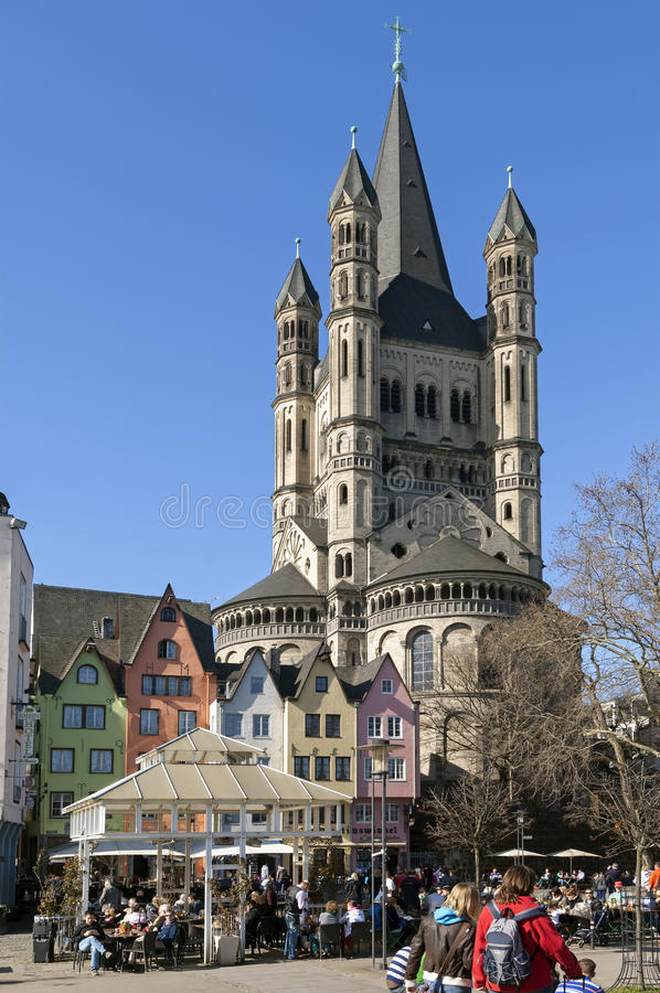Crowded terraces on Fish market, city Cologne royalty free stock photo