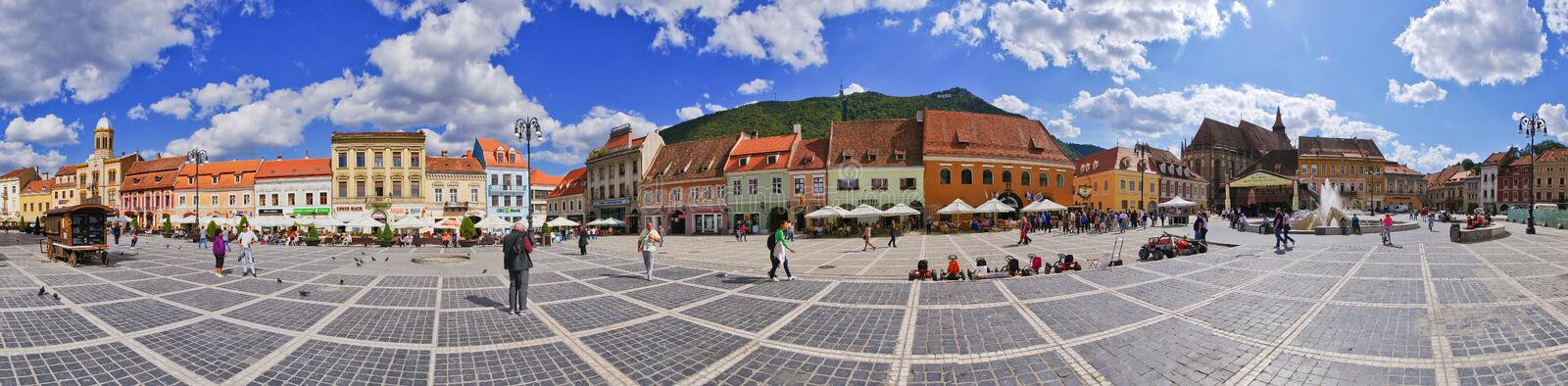 Crowded town square of Brasov, Romania. Brasov, Romania - September 09, 2015: Crowded town square. The birthplace of the national anthem of Romania royalty free stock photos