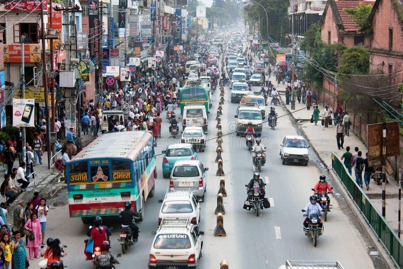 Crowded traffic jam road in Kathmandu city royalty free stock photo