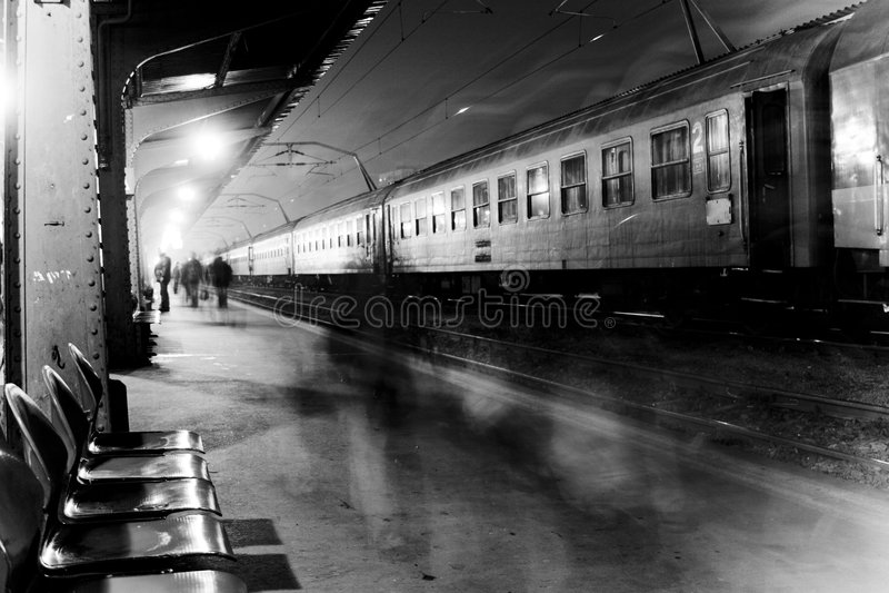 Crowded train station stock photo