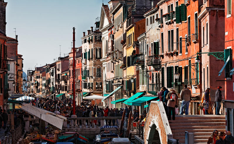 Crowded Venetian Street stock images