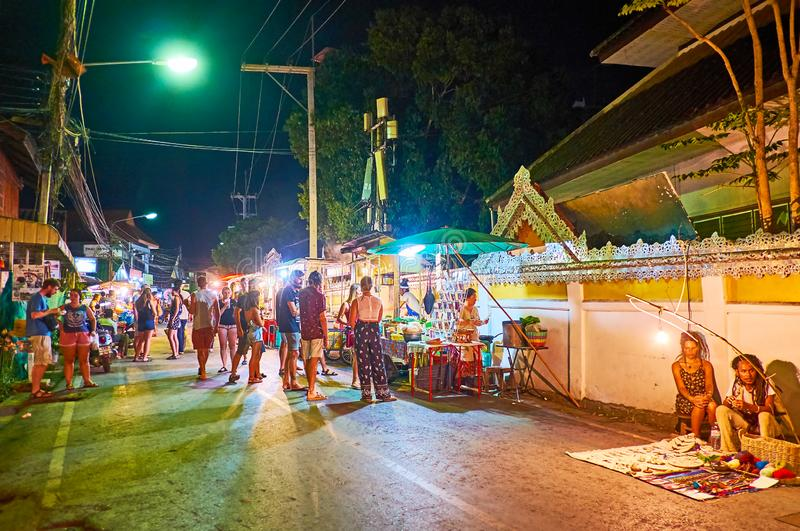 The crowded Walking street, Night Market, Pai, Thailand stock photography