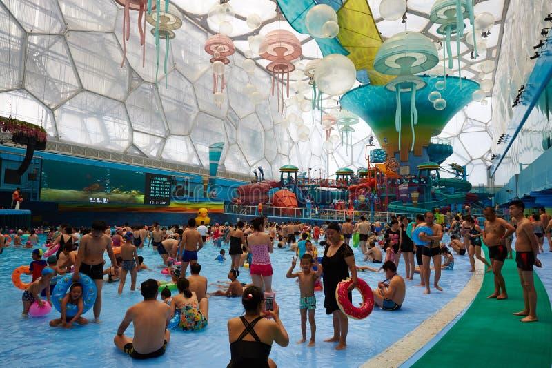 Crowded Water Park, Beijing. People having fun in Beijing Water Cube Water Park