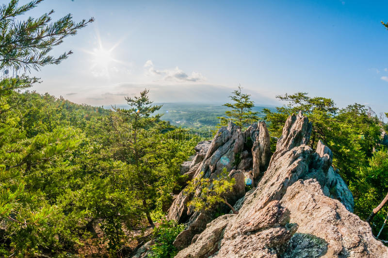 从crowders山的美好的空中风景视图在气体附近 免版税库存照片