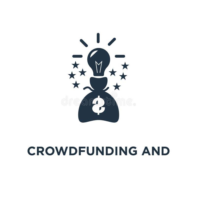 crowdfunding和捐赠象 提高金钱概念标志设计,金融投资,财务实变,想法电灯泡 库存例证