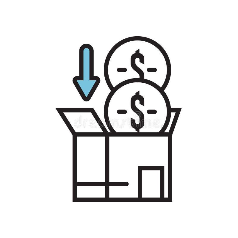 Crowdfunding象在白色背景和标志隔绝的传染媒介标志,Crowdfunding商标概念 库存例证
