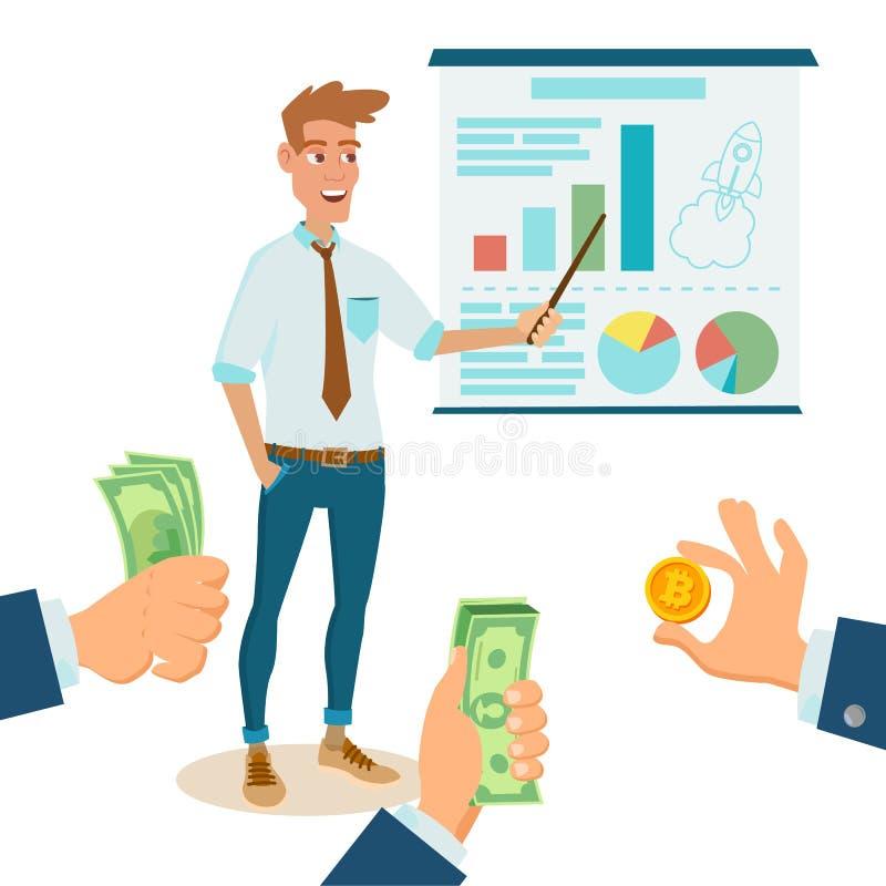 Crowdfunding,开始传染媒介 捐赠货币 新开始项目 创造性的想法 它企业平的动画片例证 库存例证