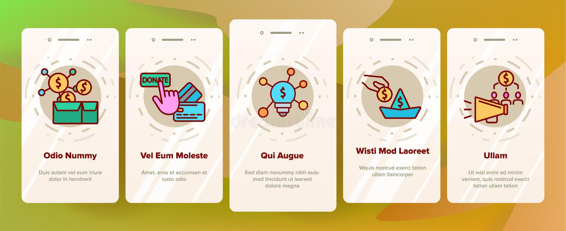 Crowdfunding, écran mobile de page d'appli d'Onboarding de vecteur collectif d'investissement illustration de vecteur
