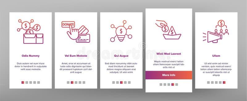 Crowdfunding, écran mobile de page d'appli d'Onboarding de vecteur collectif d'investissement illustration libre de droits