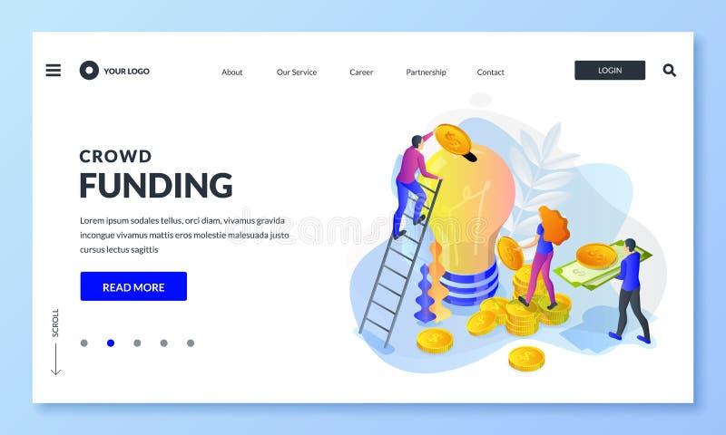 Crowdfunding, επένδυση στην ιδέα ή ίδρυση επιχείρησης Διανυσματική τρισδιάστατη isometric απεικόνιση Άνθρωποι που βάζουν τα χρήμα διανυσματική απεικόνιση