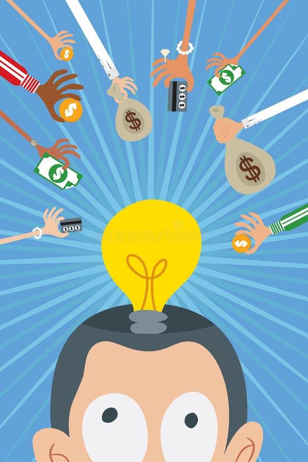 Crowdfunding и концепция инвестора дела иллюстрация вектора