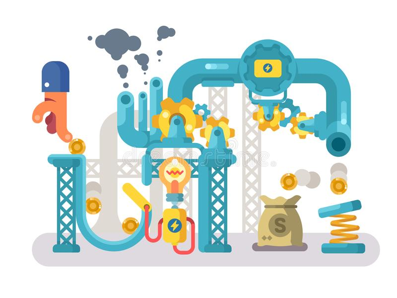 Crowdfunding abstract structure design flat stock illustration