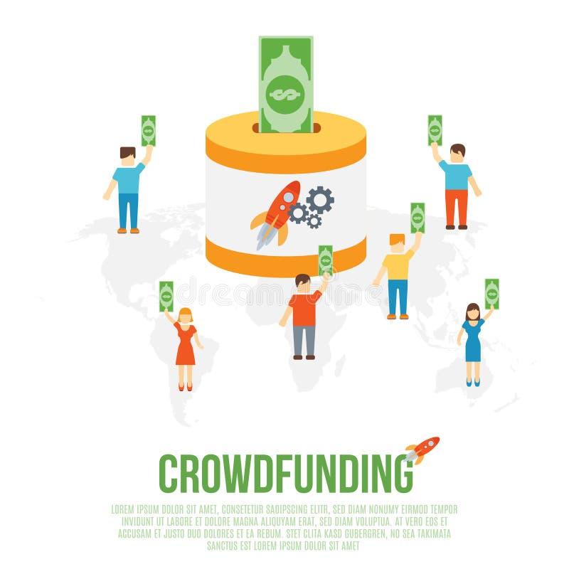 Crowdfunding affärsidé vektor illustrationer