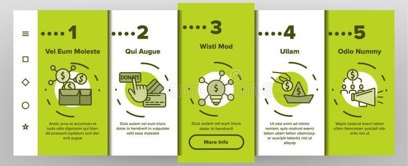 Crowdfunding, App-Seiten-Schirm Kollektiv-Investitions-Vektor Onboarding mobiler vektor abbildung