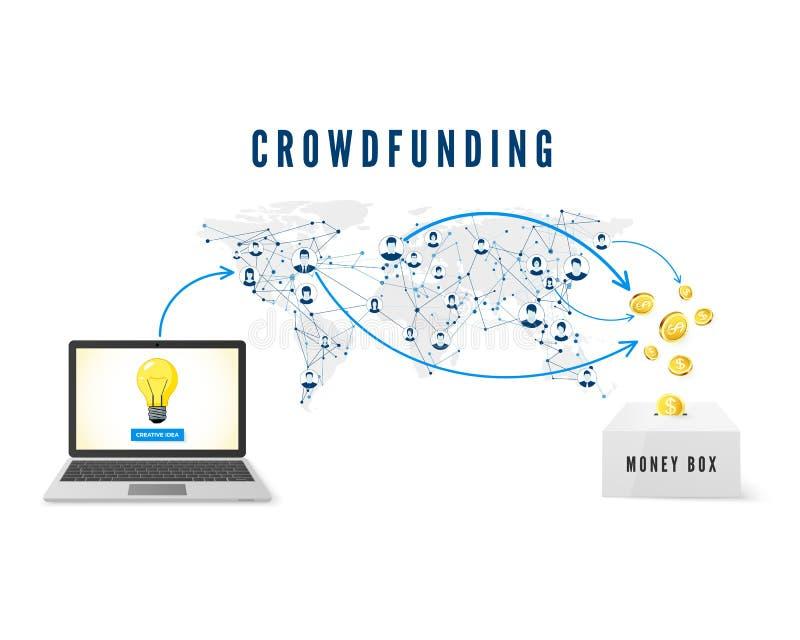 Crowdfunding begrepp Starta upp idélanseringen Folket från globalt nätverk som donerar pengar för affärsidé och, hjälper att fram royaltyfri illustrationer