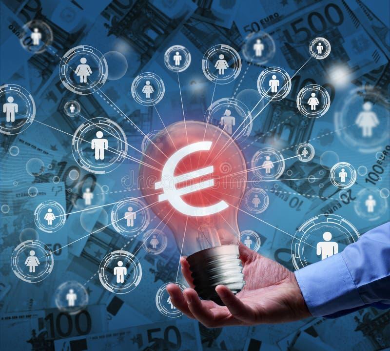 Crowdfunding of communautaire financieringsconcept stock foto's