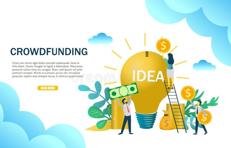 Crowdfunding concept vector web banner design template. Crowdfunding web banner template. Vector illustration of business people putting money into light bulb vector illustration