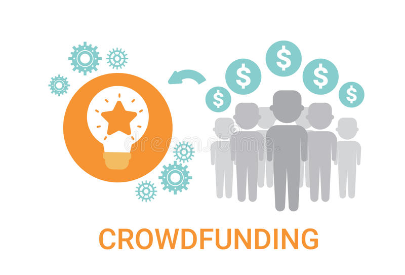 Crowdfunding Crowdsourcing zasobów pomysłu sponsoru inwestyci Biznesowa ikona royalty ilustracja