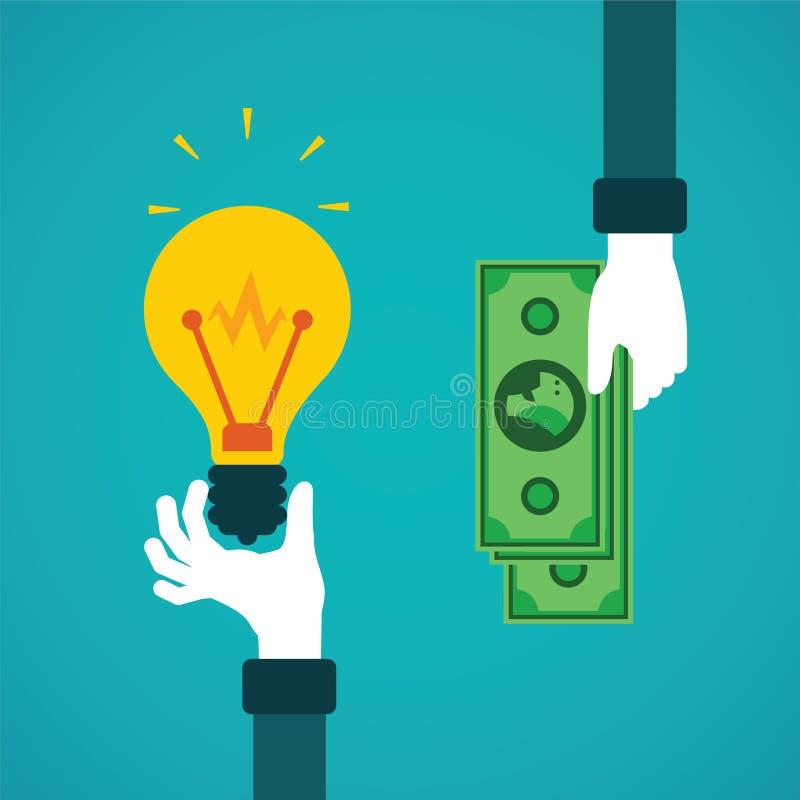 Crowdfunding eller idé för pengarvektorbegrepp i plan stil stock illustrationer