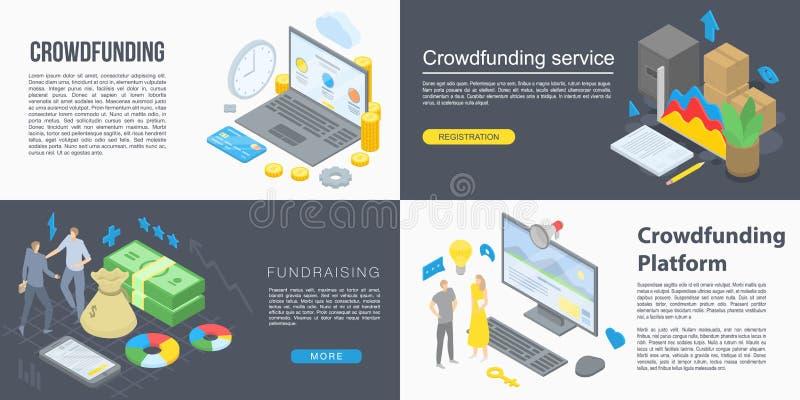 Crowdfunding-Fahnensatz, isometrische Art lizenzfreie abbildung