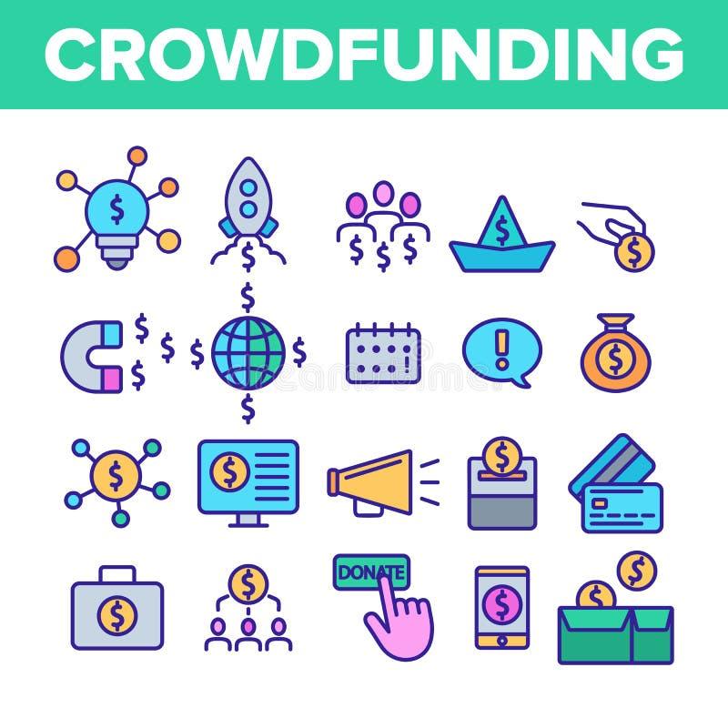 Crowdfunding, grupo linear dos ícones do vetor coletivo do investimento ilustração royalty free